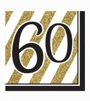 """Servietten """"Black & Gold"""" - 60. Geburtstag -  16 Stück"""