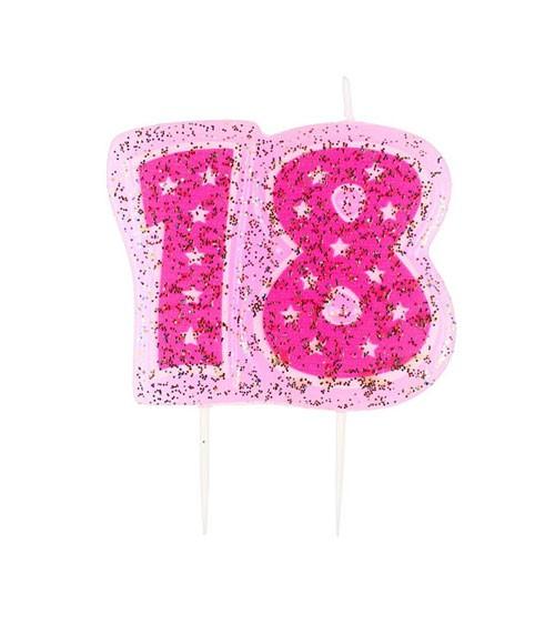 "Zahlenkerze mit Glitter ""18"" - pink - 5,5 cm"