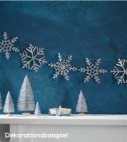 DIY Schneeflockengirlande - glitter silber - 3 m
