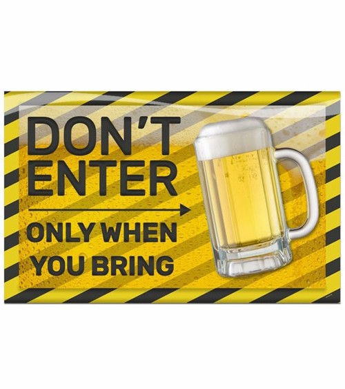 "3D-Wanddeko ""Don't enter - only when you bring Beer"" - 58 x 37 cm"