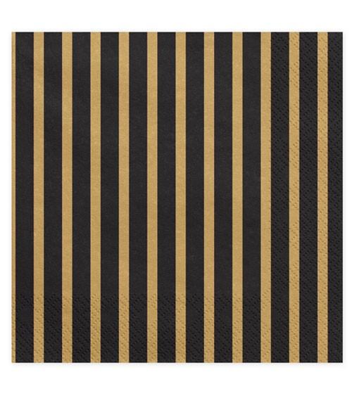"""Servietten """"Streifen"""" - schwarz/gold - 20 Stück"""