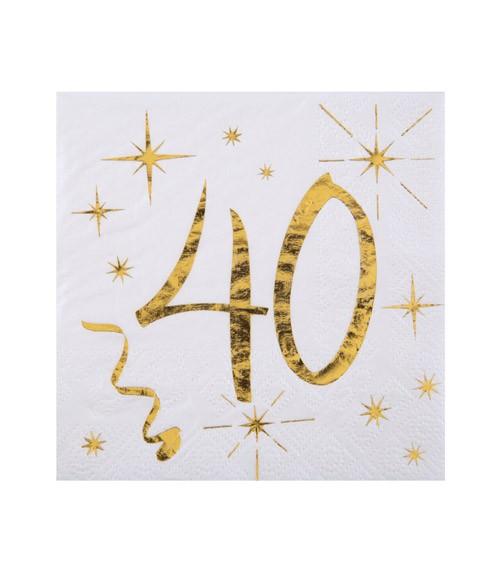 """Cocktail-Servietten """"40"""" - weiß, gold - 20 Stück"""