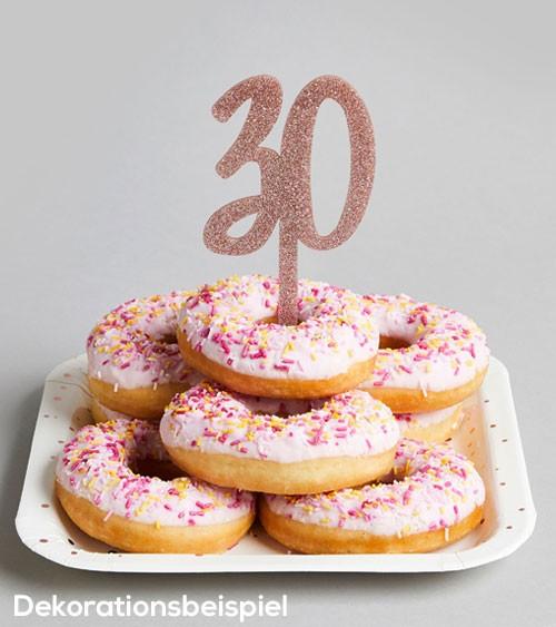 """Cake Topper aus Acryl """"30"""" - glitter rosegold"""