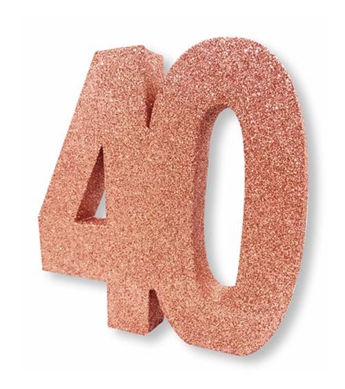 "Tischdeko Zahl ""40"" - glitter rosegold"