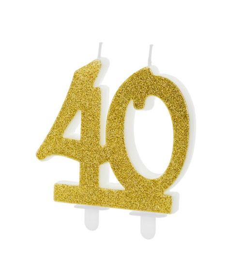 """Script-Zahlenkerze """"40"""" - glitter gold - 7,5 cm"""