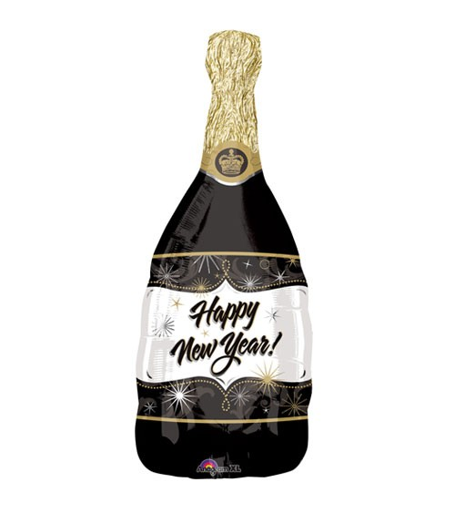 "SuperShape-Folienballon ""Sektflasche - Happy New Year"" - 91 cm"