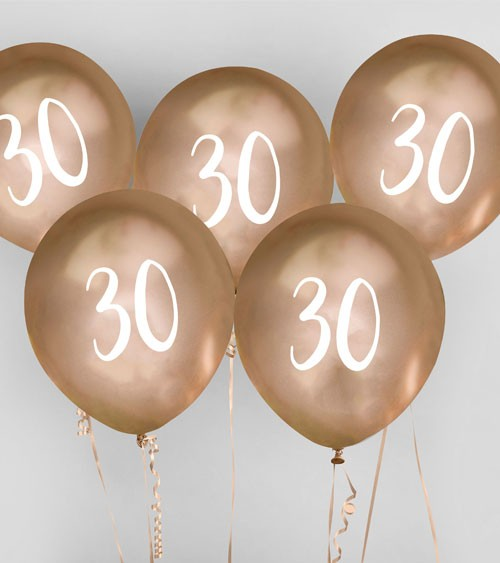 "Metallic-Luftballons ""30"" - gold - 5 Stück"