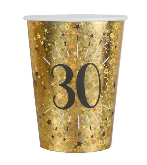 """Pappbecher """"Sparkling Gold"""" - 30. Geburtstag - 10 Stück"""