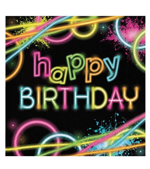 """Servietten """"Neon Party"""" - Happy Birthday - 16 Stück"""