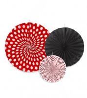 Rosetten-Set - rot/schwarz/weiß - 3-teilig