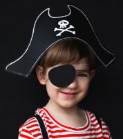 Kinder-Piratenhut aus Pappe mit Augenklappe - 2-teilig
