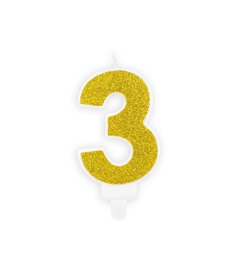 "Zahlenkerze mit Glitter ""3"" - gold - 7 cm"