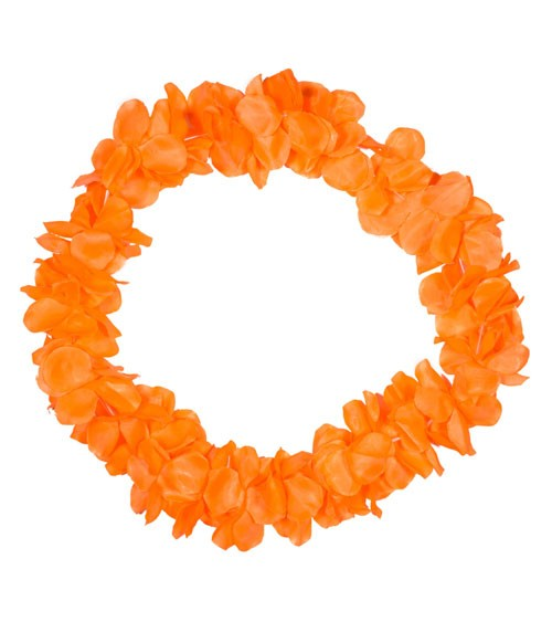 Hawaii-Kette aus Stoff - neon orange