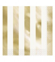 "Servietten ""Stripes"" - metallic-gold - 16 Stück"