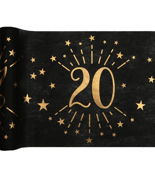 """Tischläufer """"Sparkling Gold"""" - 20. Geburtstag - 30 cm x 5 m"""