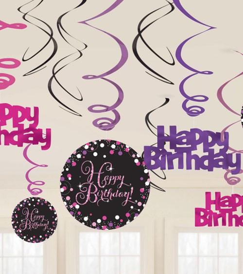 """Spiralgirlanden """"Sparkling Pink"""" -Happy Birthday - 12 Stück"""