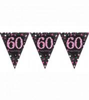 """Wimpelgirlande """"Sparkling Pink"""" - 60. Geburtstag - 4 m"""