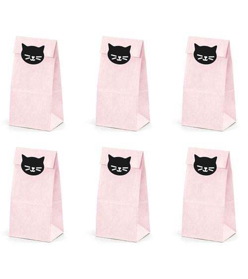 Papiertüten mit Katzenstickern - rosa - 6 Stück