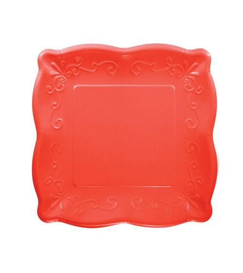 Kleine Pappteller mit Prägung - korallenrot - 8 Stück