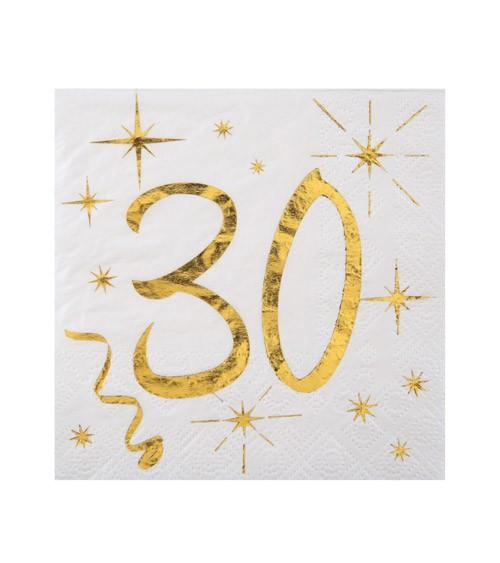 """Cocktail-Servietten """"30"""" - weiß, gold - 20 Stück"""