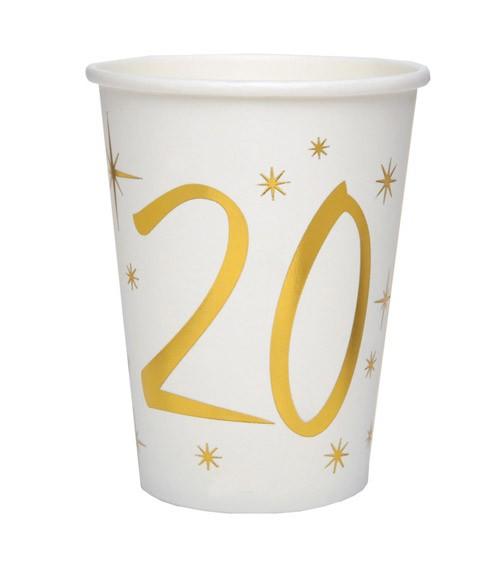 "Pappbecher ""20"" - weiß, gold - 10 Stück"