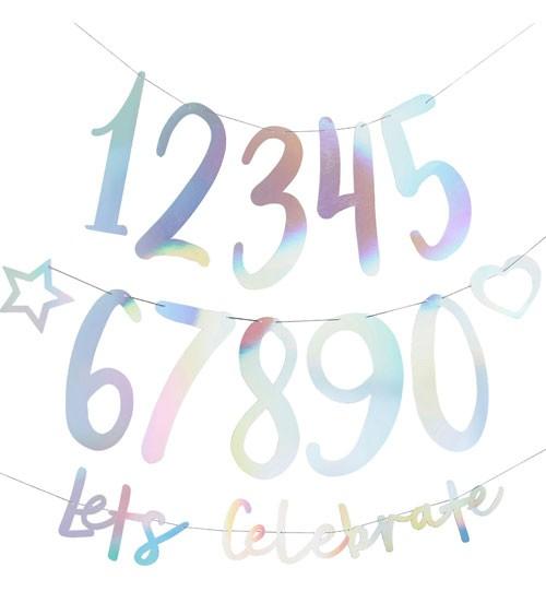 """Individualisierbare Girlande """"Lets Celebrate""""- irisierend - 25-teilig"""