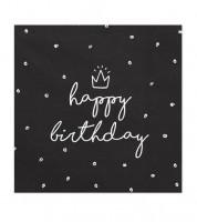 """Servietten """"happy birthday"""" - schwarz - 20 Stück"""