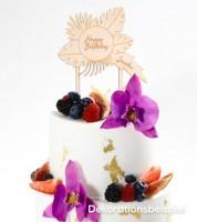 "Dein Cake-Topper ""Tropical Birthday"" aus Holz - Wunschtext"