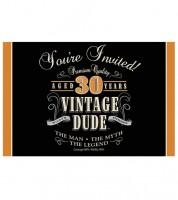 """Einladungskarten """"Vintage Dude - 30. Geburtstag""""- 8 Stück"""