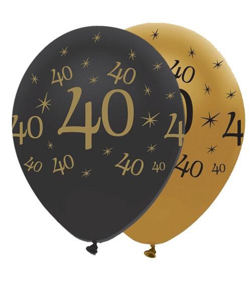 "Luftballon-Set ""40"" - schwarz/gold - 6 Stück"