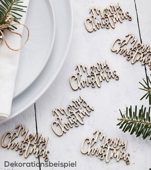 "Streuteile aus Holz ""Merry Christmas"" - 20 Stück"