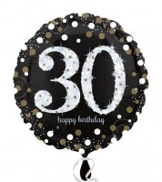 "Runder Folienballon ""Sparkling Celebration"" - 30. Geburtstag"