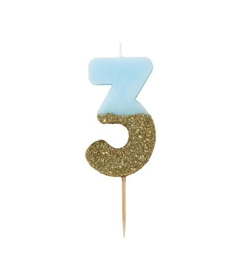 """Zahlenkerze """"3"""" - mit Goldglitter - blau"""
