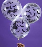 Transparente Ballons mit Fledermaus-Konfetti - 5 Stück