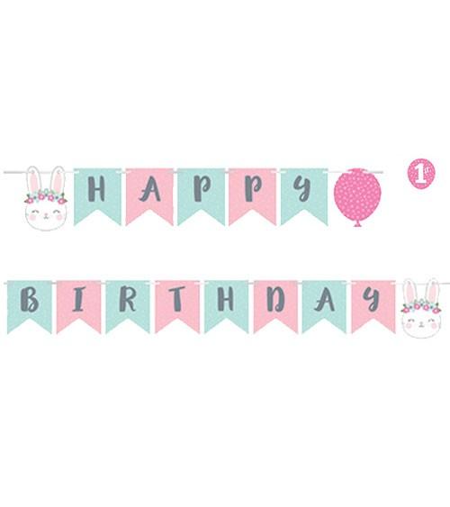 """Happy Birthday-Girlande """"Häschen"""" - 1,92 m"""