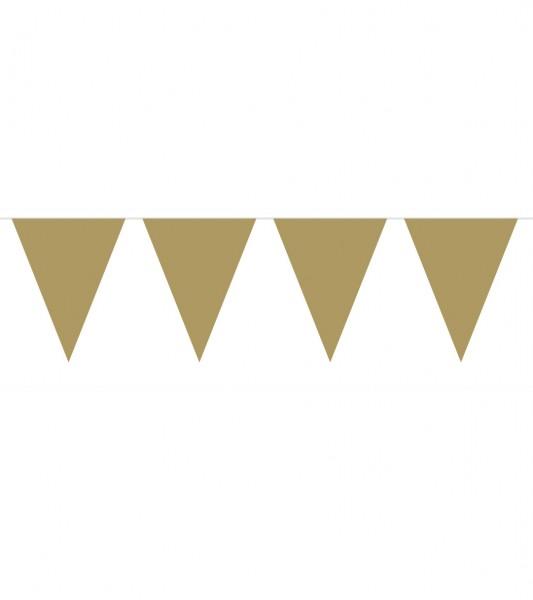 Mini-Wimpelgirlande aus Kunststoff - gold - 3 m