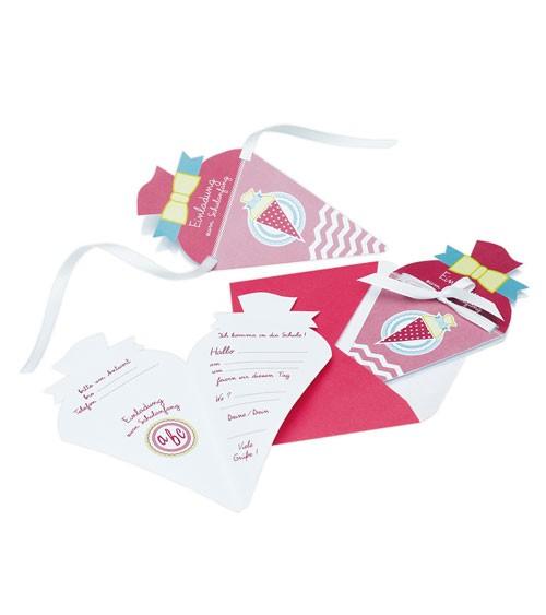 """Einladungskarten """"Schultüte"""" - pink - 4 Stück"""