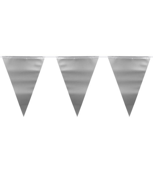 Wimpelgirlande aus Kunststoff - metallic silber - 6 m