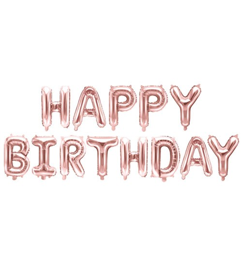 "Folienballon-Set ""Happy Birthday"" - rosegold - 340 x 35 cm"