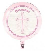 "Runder Folienballon ""Rosa Kreuz"" - Kommunion - 45 cm"