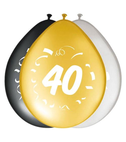 """Luftballon-Set """"40"""" - schwarz, gold, silber - 8 Stück"""