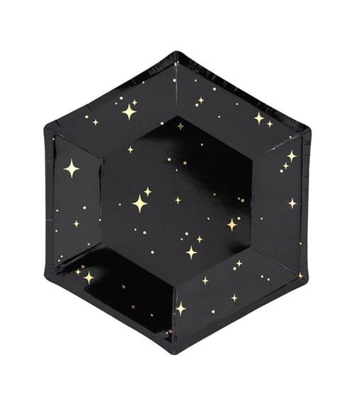 Kleine Pappteller mit Sternen - schwarz/gold - 6 Stück