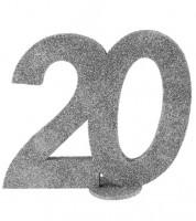 """Tischaufsteller """"20"""" - silber - 11 x 10 cm"""