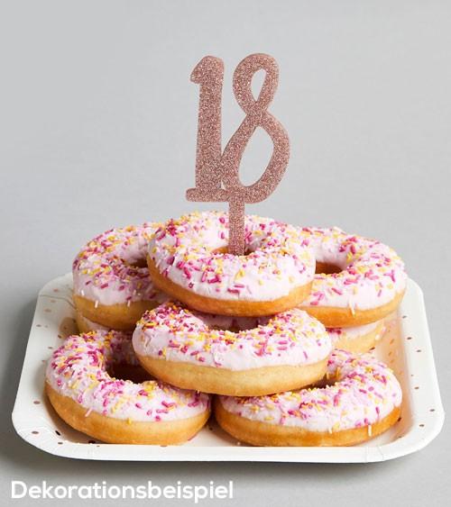 """Cake Topper aus Acryl """"18"""" - glitter rosegold"""