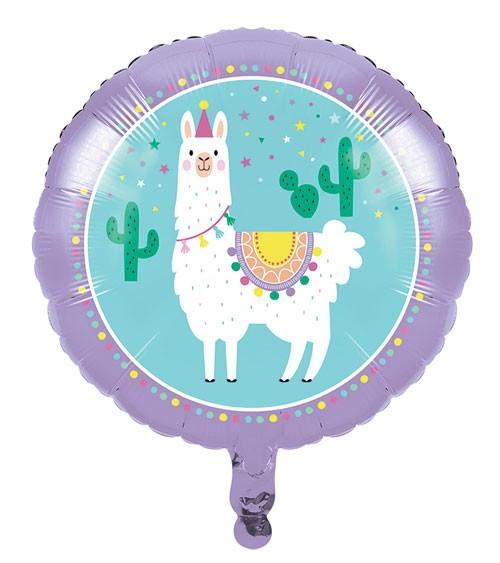 """Runder Folienballon """"Lama Party"""" - 45,7 cm"""