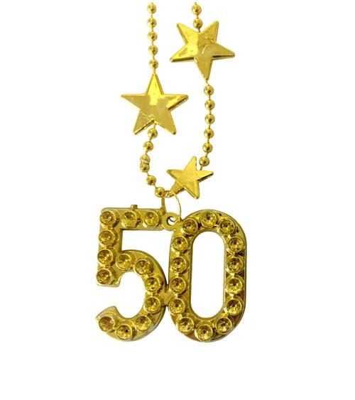 """Goldene Halskette aus Kunststoff """"50. Geburtstag"""""""