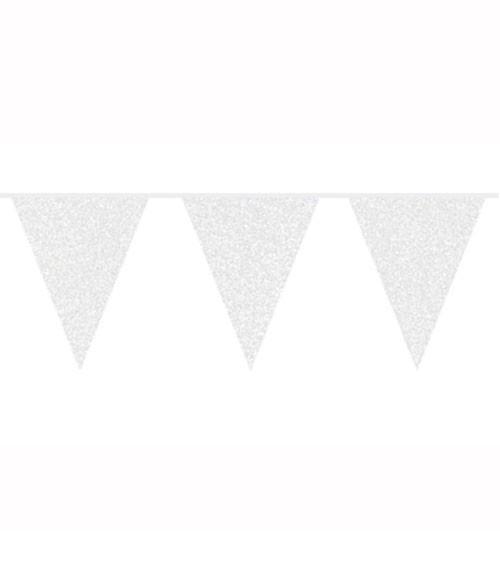 Wimpelgirlande mit Glitter - weiß - 6 m
