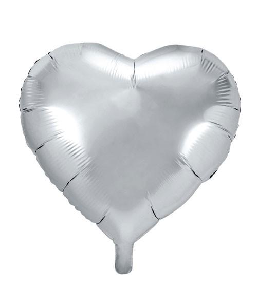 Herz-Folienballon - silber - 61 cm