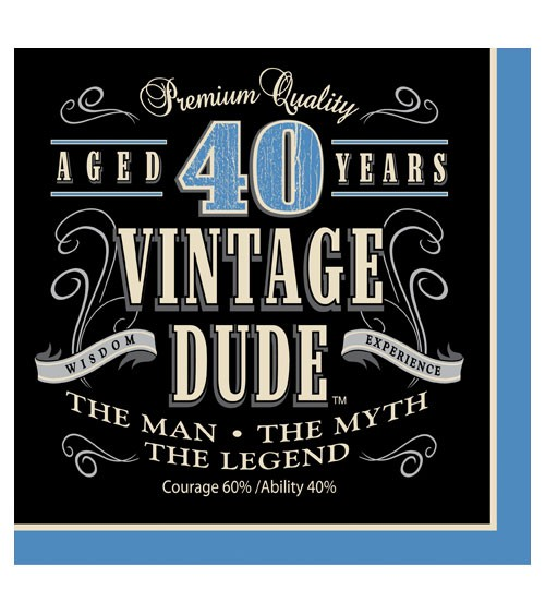 """Servietten """"Vintage Dude - 40. Geburtstag"""" - 16 Stück"""