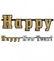 """Holographic-Girlande """"Happy New Year"""" - gold/silber - 1,42 m"""